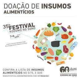 35º Festival Kodomo no Sono Doações de insumos alimentícios